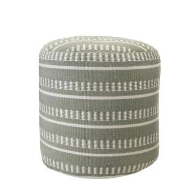 Dash Stripe Green / White 20 in. Geometric Indoor Outdoor Pouf