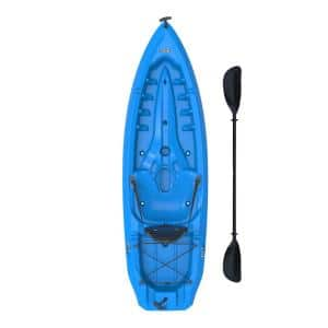Lotus Blue Kayak with Paddles and Backrest