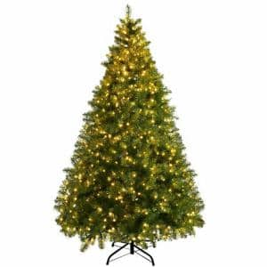 8 ft. Pre-Lit Dense PVC Christmas Tree Spruce Hinged with 880 LED Lights and Stand