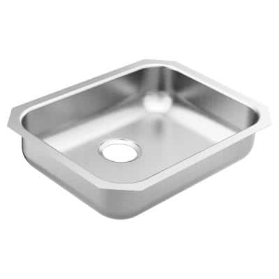 1800 Series Stainless Steel 23.5 in. Single Bowl Undermount Kitchen Sink with 5.5 in. Depth and Center Rear Drain Hole