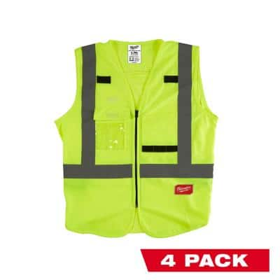 2X-Large /3X-Large Yellow Class 2-High Visibility Safety Vest with 10 Pockets (4-Pack)
