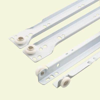 19-3/4 in. White Painted Steel Bottom-Mount Self-Closing Drawer Slides (1-pair)