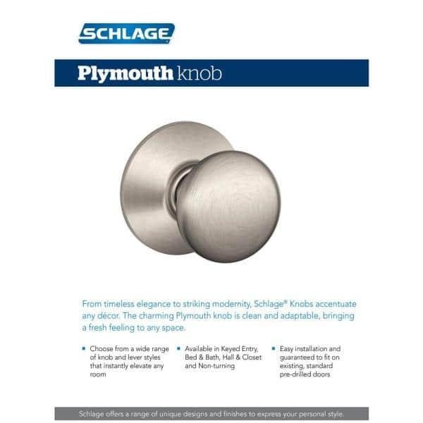 Schlage Plymouth Satin Nickel Privacy Bed Bath Door Knob F40 Ply 619 The Home Depot