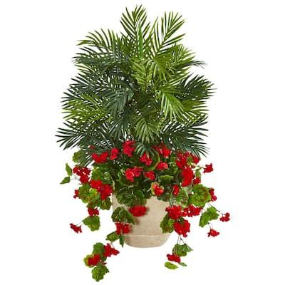 3.5 ft. Indoor Geranium and Areca Palm Artificial Plant