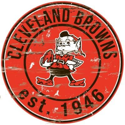 """24"""" NFL Cleveland Browns Round Distressed Sign"""