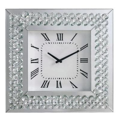 White Wood and Mirror Square Analog Wall Clock with Crystal Accent