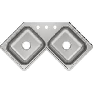 Dayton Elite Drop-In Stainless Steel 32 in. 3-Hole Double Bowl Kitchen Sink