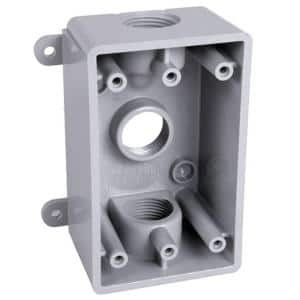 1-Gang Non-Metallic Weatherproof Gray Box with Three 1/2 in. or 3/4 in. Outlets