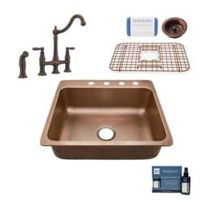 Rosa All-In-One Copper 25 in. 4-Hole Single Bowl Drop-In Kitchen Sink with Pfister Faucet and Drain