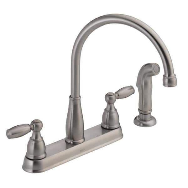 Delta Foundations 2 Handle Standard Kitchen Faucet With Side Sprayer In Stainless 21988lf Ss The Home Depot