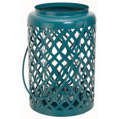 "Gipson Lantern - Aqua Blue, 6"" x 6"" x 9"""
