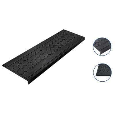 Rubber Black Coin 10 in. x 30 in. Stair Tread Cover (5-Pack)