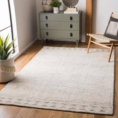 Abstract Ivory/Gray 8 ft. x 10 ft. Geometric Striped Area Rug