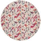 Evoke Ivory/Red 7 ft. x 7 ft. Round Abstract Area Rug