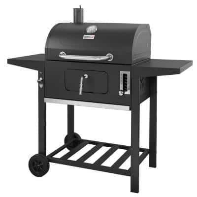 24 in. BBQ Charcoal Grill in Black with 2-Side Table