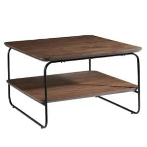 Amelia 32 in. Brown Medium Square Wood Coffee Table with Shelf