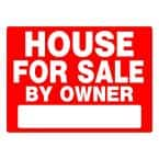 18 in. x 24 in. Red and White Plastic House For Sale By Owner Sign