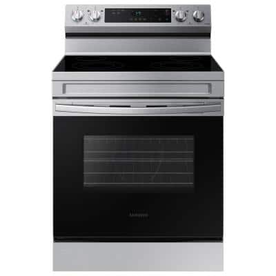 6.3 cu. ft. Smart Freestanding Electric Range with Steam Clean in Stainless Steel