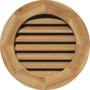 27'' x 27'' Round Rough Sawn Western Red Cedar Wood Paintable Gable Louver Vent Functional