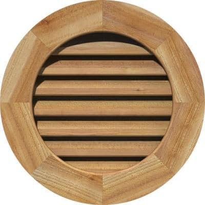 """27"""" x 27"""" Round Rough Sawn Western Red Cedar Wood Paintable Gable Louver Vent Functional"""