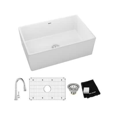 White Fireclay 30 in. Single Bowl Farmhouse Apron Kitchen Sink Kit with Faucet