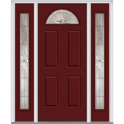 68.5 in. x 81.75 in. Heirlooms Left-Hand Inswing 1/4-Lite Decorative Painted Steel Prehung Front Door with Sidelites
