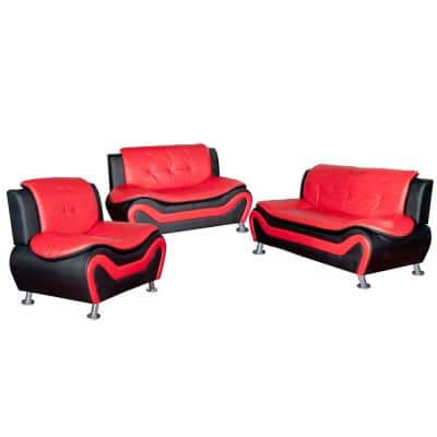 Red and Black Leather Three Piece Sofa Set