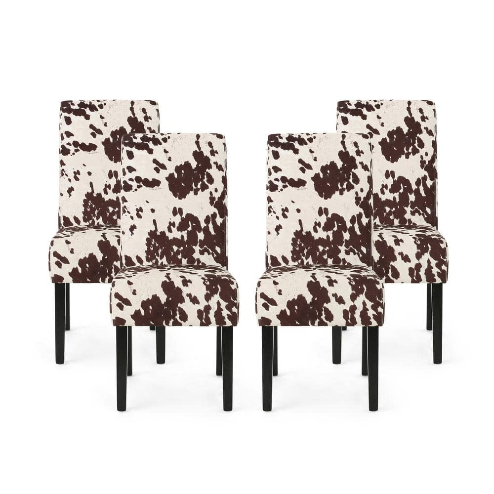 Noble House Perticia Brown Cow Print Fabric Upholstered Dining Chair Set Of 4 82915 The Home Depot