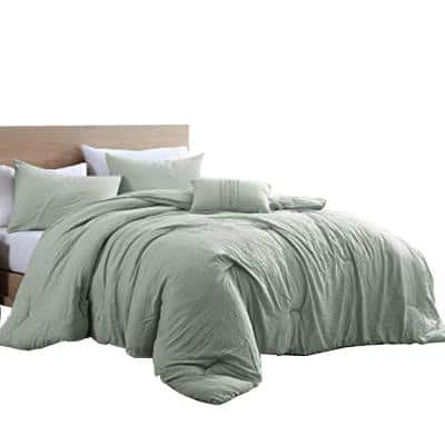 Helsinki 4-Piece Sage Green Textured Microfiber Queen Comforter Set