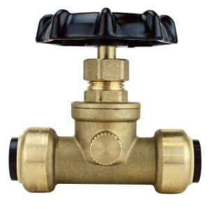 1/2 in. Brass Push-To-Connect Stop Valve with Drain