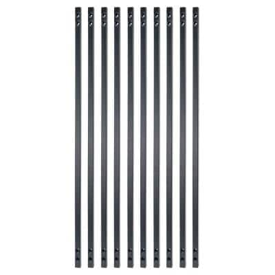 31 in. x 5/8 in. Black Sand Steel Square Face Mount Deck Railing Baluster (10-Pack)