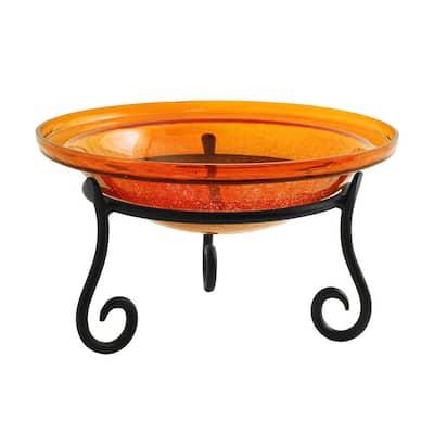 12.5 in. Dia Mandarin Orange Reflective Crackle Glass Birdbath Bowl with Short Stand