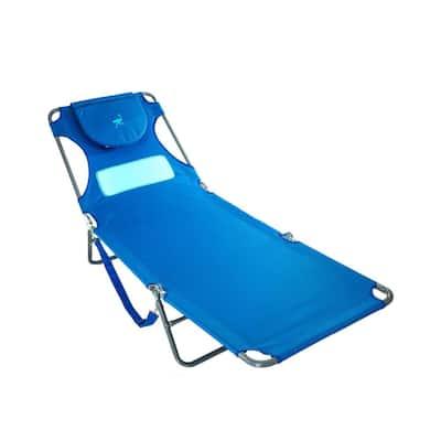 Blue Metal Comfort Lounger Face Down Sunbathing Chaise Lounge Beach Chair
