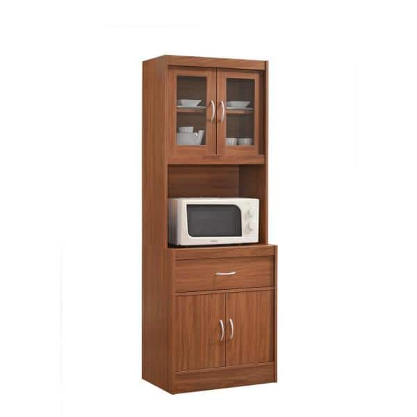 Hodedah China Cabinet Cherry With Microwave Shelf Hikf96 The Home Depot