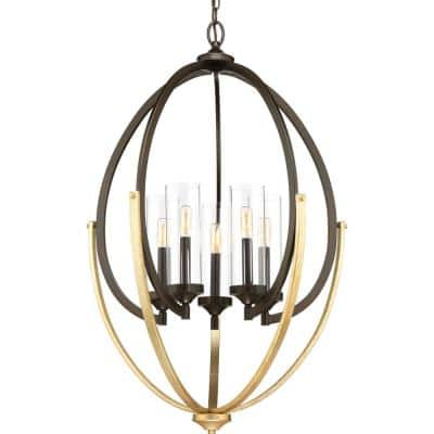 Evoke Collection 5-Light Antique Bronze Clear Glass Luxe Chandelier Light