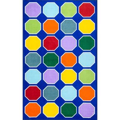 Kecia Octagons Playmat Blue 3 ft. x 5 ft.  Area Rug