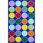 Kecia Octagons Playmat Blue 4 ft. x 6 ft. Area Rug