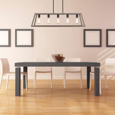 Agnes II 5-Light Painted Wood Finish and Matt Black Socket LED Pendant