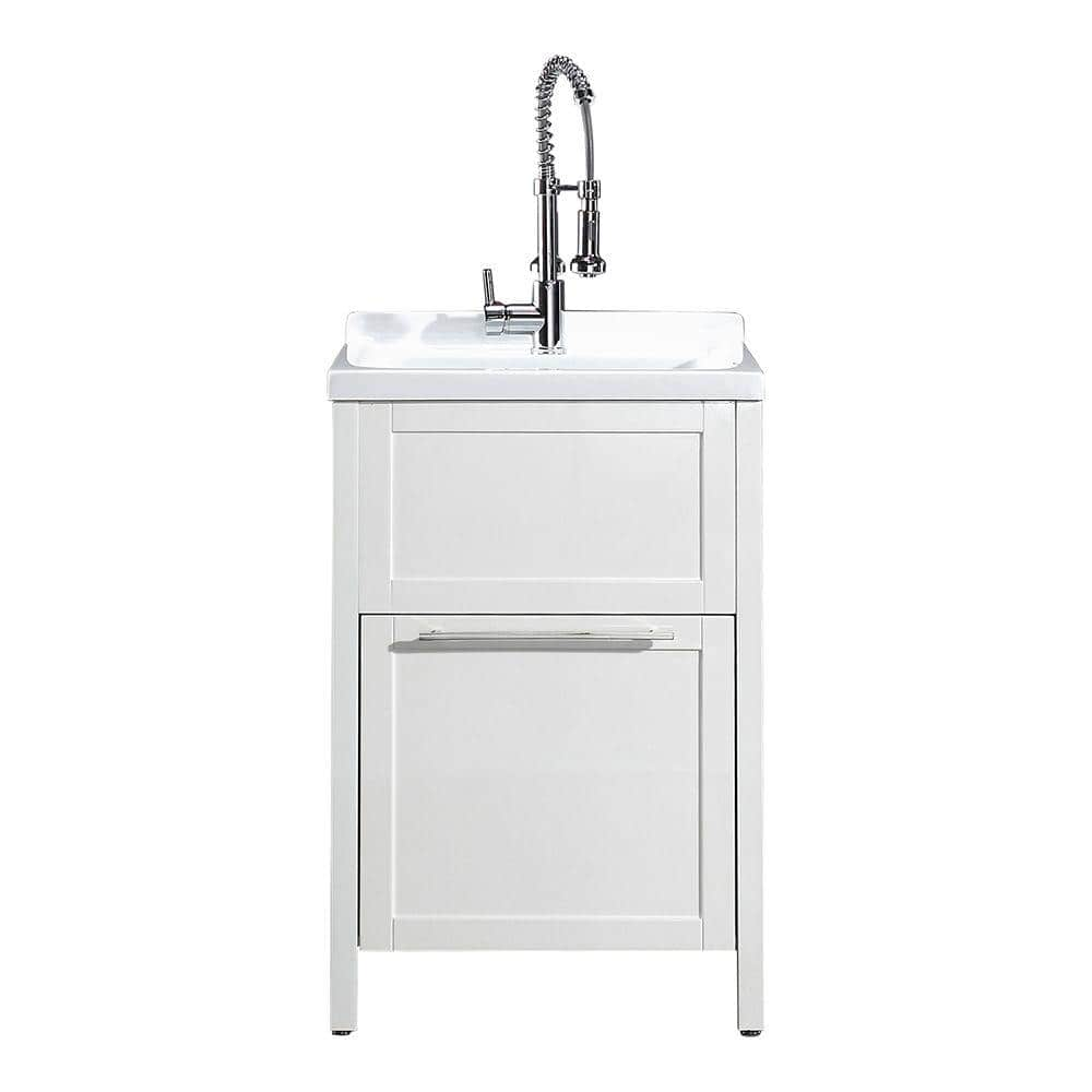 Schon Eleni All In One Kit 24 In X 22 In X 37 8 In Acrylic Utility Sink With Cabinet In White Mo 1067w The Home Depot