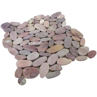 Mixed Berry 12 in. x 12 in. Sliced Pebble Stone Floor and Wall Tile (5.0 sq. ft./Case)