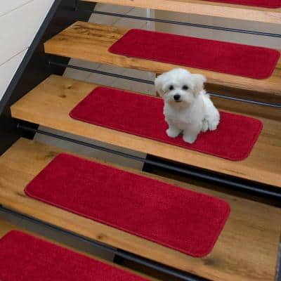 Comfort Collection Red 9 in. x 26 in. Rubber Back Plush Stair Tread (Set of 5)