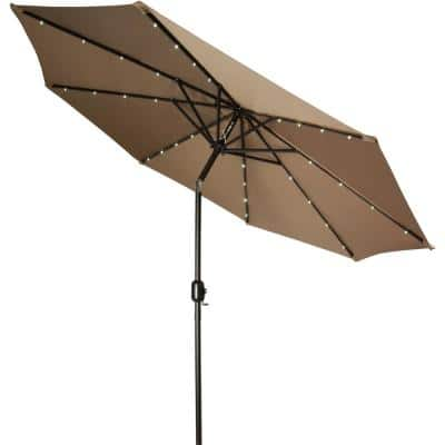 9 ft. Deluxe Market Solar Powered LED Lighted Patio Umbrella in Tan