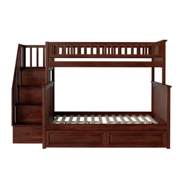Atlantic Furniture Columbia Staircase Bunk Bed Twin over Full with 2-Raised Panel Bed Drawers in Walnut   The Home Depot