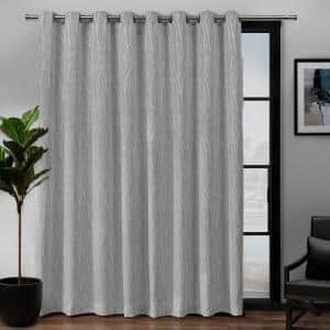 Forest Hill Patio Dove Grey Floral Polyester 108 in. W x 84 in. L Grommet Top, Room Darkening Curtain Panel