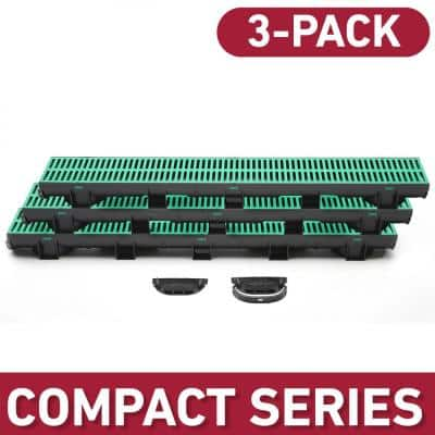 Compact Series 5.4 in. W x 3.2 in. D x 39.4 in. L Trench and Channel Drain Kit w/ Green Grate (3-PK : 9.8 ft)