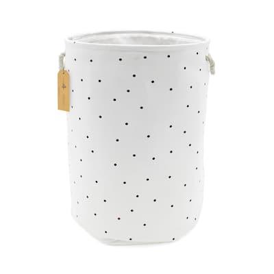 16 in. L x 16 in. W x 22 in. H Canvas Laundry Hamper (Polka Dots)