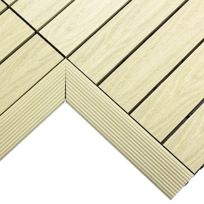 1/6 ft. x 1 ft. Quick Deck Composite Deck Tile Inside Corner Fascia in Sahara Sand (2-Pieces/Box)
