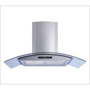 36 in. 520 CFM Convertible Glass Wall Mount Range Hood in Stainless Steel with Mesh Filters and Touch Sensor Control