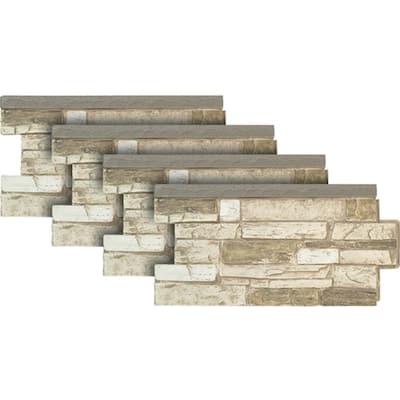 Ledgestone Wainscot #45 Almond Taupe 48 in. x 24 in. Stone Veneer Panel (4-Pack)