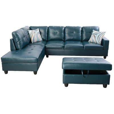 Living-3-Piece-Blue-Faux Leather-6 Seats-L-Shaped-Left Facing-Sectionals